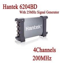 Цифровой осциллограф Портативный осциллографа Hantek 6204BD 200 мГц 4 Каналы Osciloscopio USB ПК с 25 мГц генератор сигналов