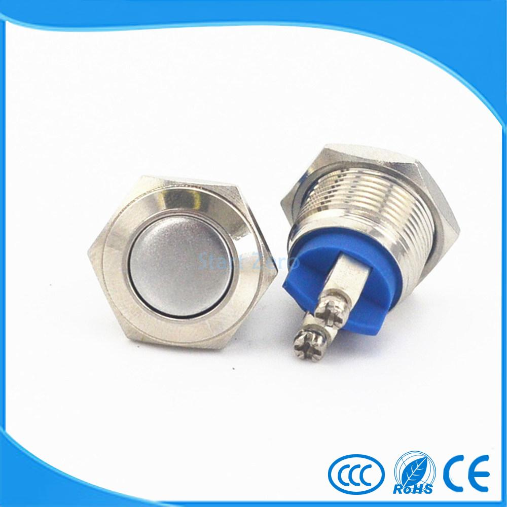 Free ship 16mm Starter Switch Boat Horn Momentary Steel Metal Push Button Switches 10pcs momentary push button switch 16mm momentary pushbutton switches 6a 125vac 3a 250vac round switch