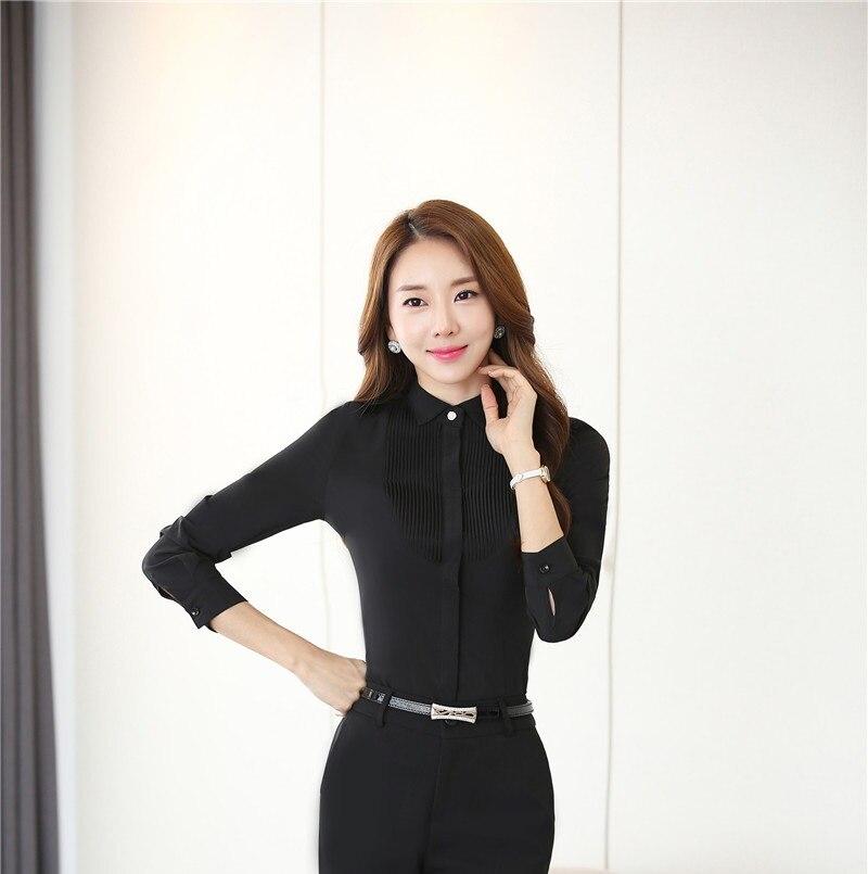 Nueva Elegante Negro de Manga Larga Primavera Otoño Blusas y Camisas para Las Se