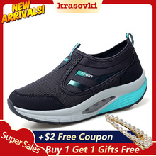 Krasovki Fitting Shoes Rocking Slip on Women Sneakers Platform Slipony Breathable Flying Knitting Dropship zapatos mujer