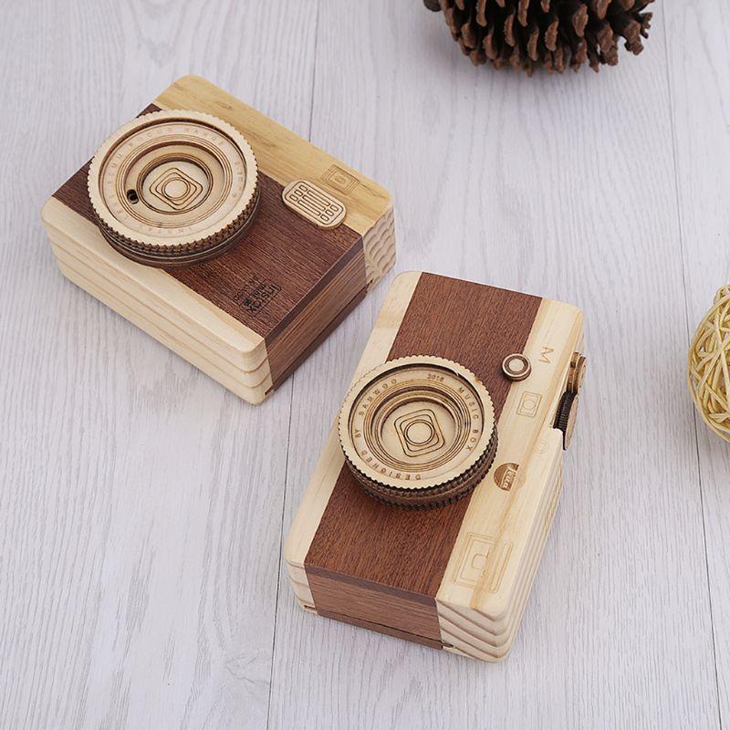 Wooden Music Box Retro Camera Design Classical Melody Birthday Home Decoration 95AE