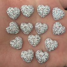 DIY 80pcs 12mm silver AB Resin Bling Sweet heart flatback Scrapbooking for phone/Wedding D500*2(China)