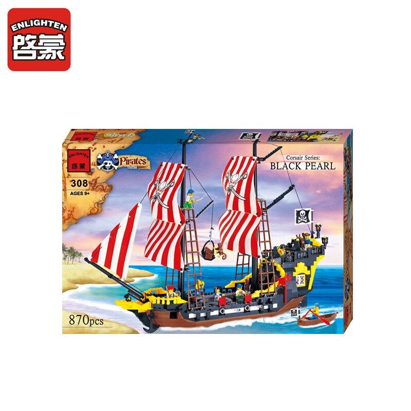 ENLIGHTEN 870Pcs Pirate Series Pirates Black Pearl Battle Ship Building Blocks Set DIY Assembling Bricks Educational Kids Toys