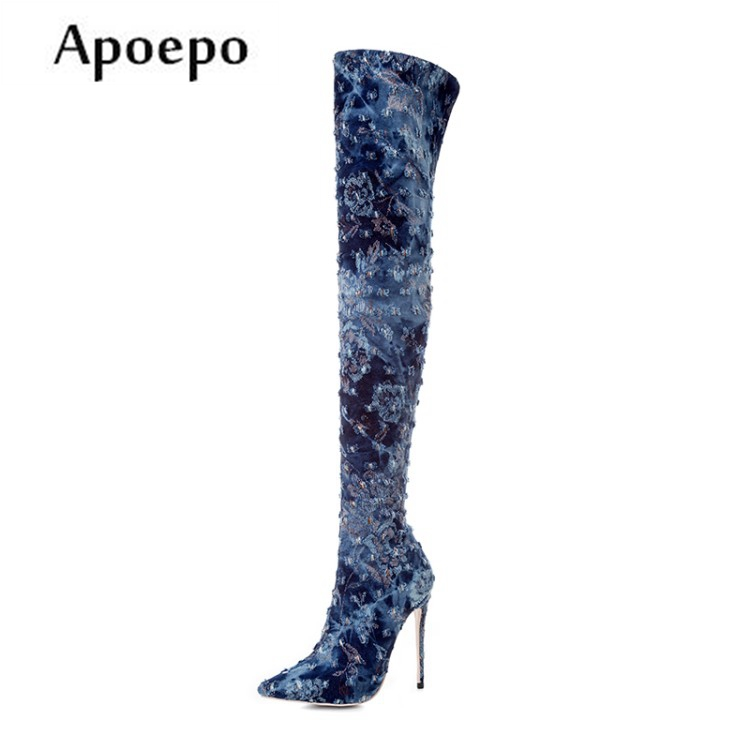 New women high heels boots pointed toe over the knee boots sexy denim blue thigh high boots thin heels long boots sorbern women boots sexy fetish thin high heels motorcycle shoes pointed toe stiletto lace up over the knee thigh long boots