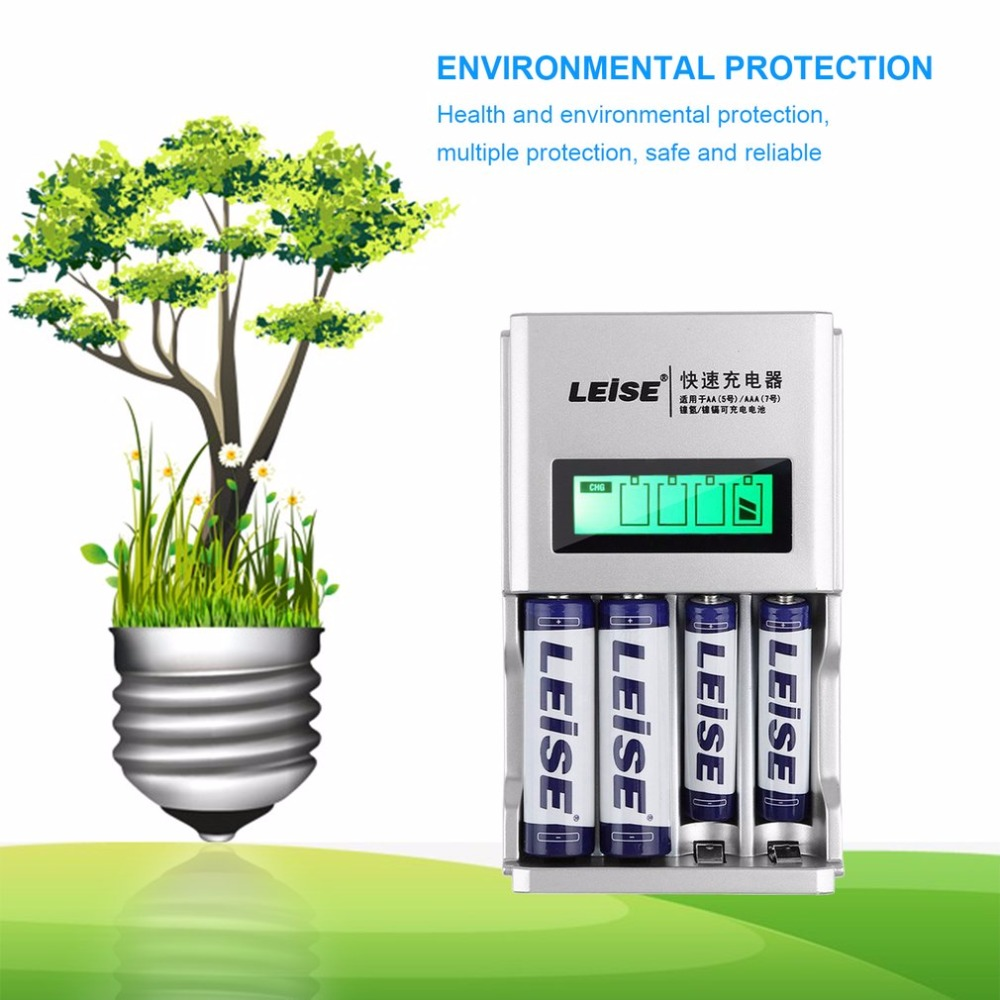 LEISE 904 Smart LED Display Fast Charging Battery Charger Convenient Charging Suitable For AA AAA Rechargeable Battery 4 Slots
