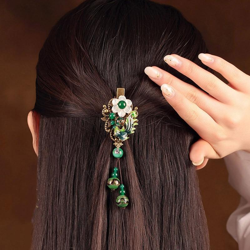 Cloisonné mer coquille fleur épingle à cheveux gland Barrettes émail chinois pince à cheveux bijoux alliage Bronze ancien ethnique cheveux accessoire