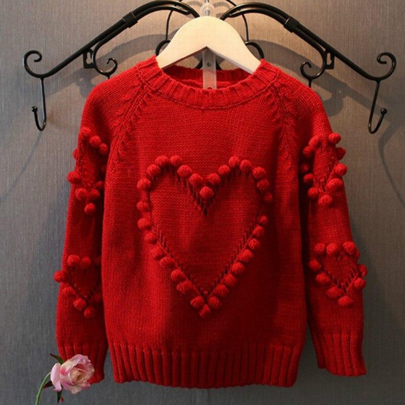 2017 Neue Herbst Baby Mädchen Pullover Kinder Strickwaren Herz Ball Pullover Für Mädchen Baby Gestrickte Pullover Mädchen Pullover Kleidung Cc519