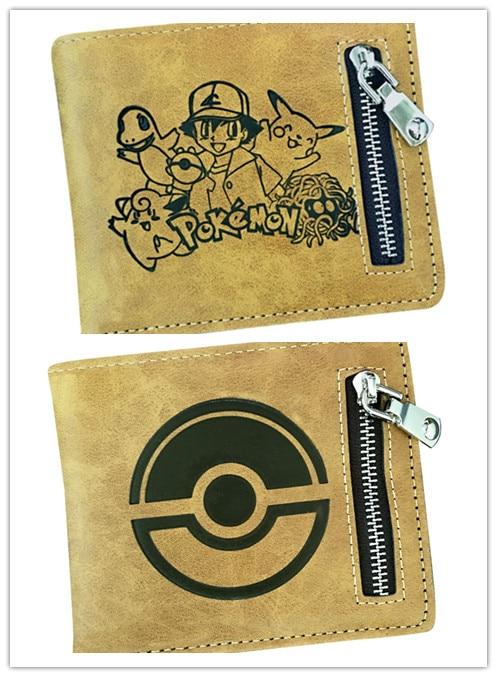 Anime pokemon  pikachu Print Coins wallet Short Bifold Holder Layers Money Cards faux leather Purse Handbag Men Otaku Kids Gift