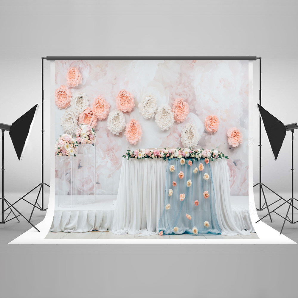 Kate 10x10 Flower Wall Photography Background Backdrop Table Party Stage Backgrounds For Photo Studio Newborn Photography Props newborn photography background blue sky white clouds photo backdrop vinyl balloons scattered petals backgrounds for photo studio