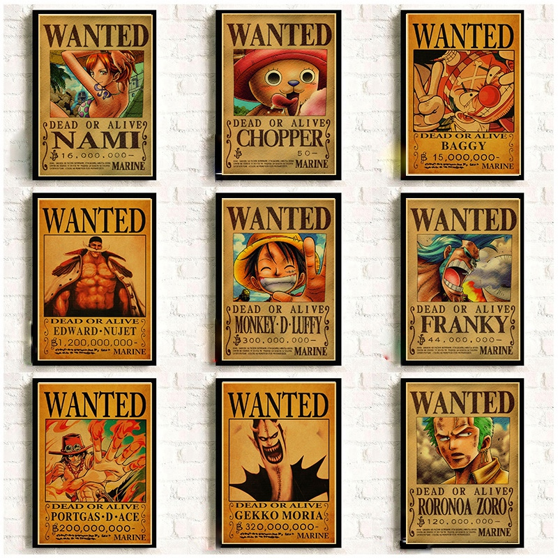 Japanese Classic Anime One Piece Wanted Retro Poster Monkey D Luffy Wanted Vintage Wall Painting Room Wall Art Posters