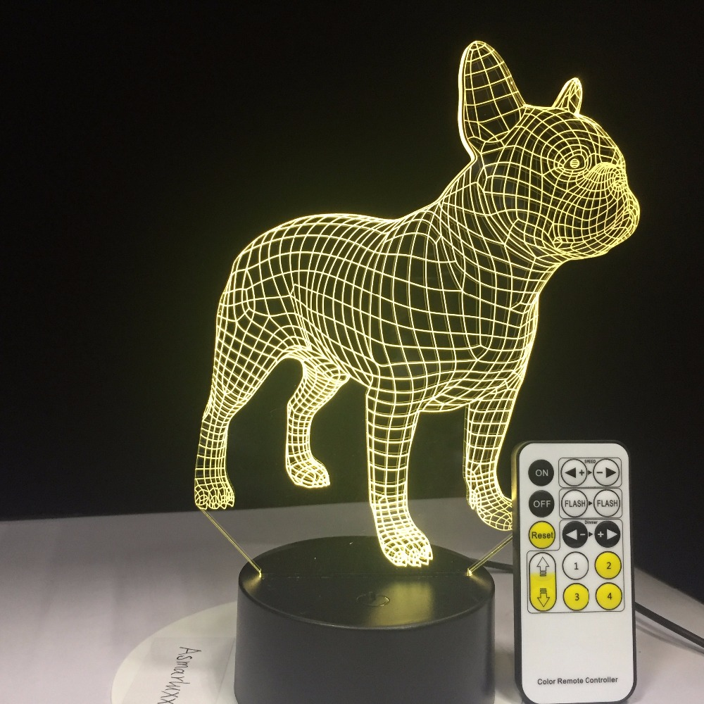 French Bulldog 3D Table Lamp Remote Or Touch Contol LED Colorful Dog Nightlight Birthday Gift USB Sleep Lighting Drop Shipping