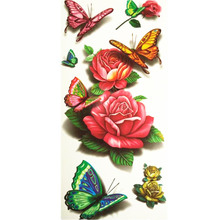 3D Lifelike Pretty Temporary Tattoo 19X9CM Butterfly With Flowers