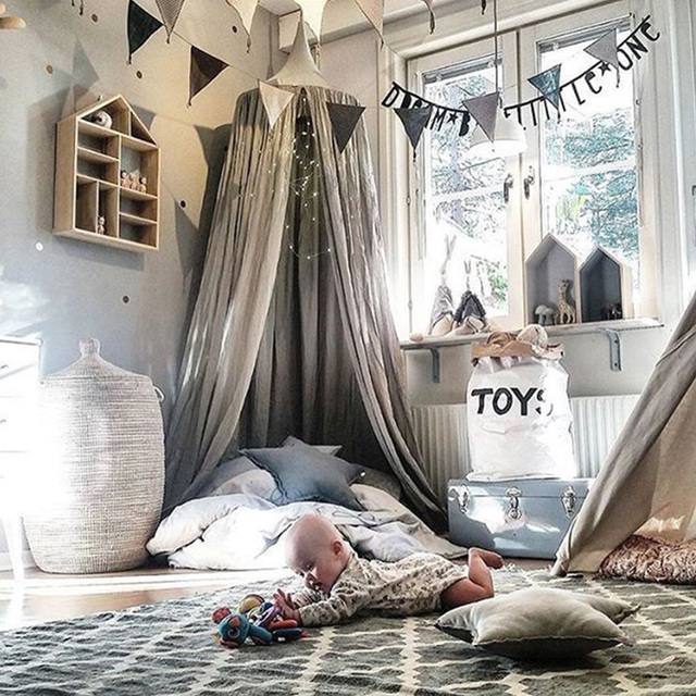 Cotton Hanging Kids Baby Bedding Dome Bed Canopy Mosquito Net Bedcover Curtain for Baby Kids Reading Playing Home