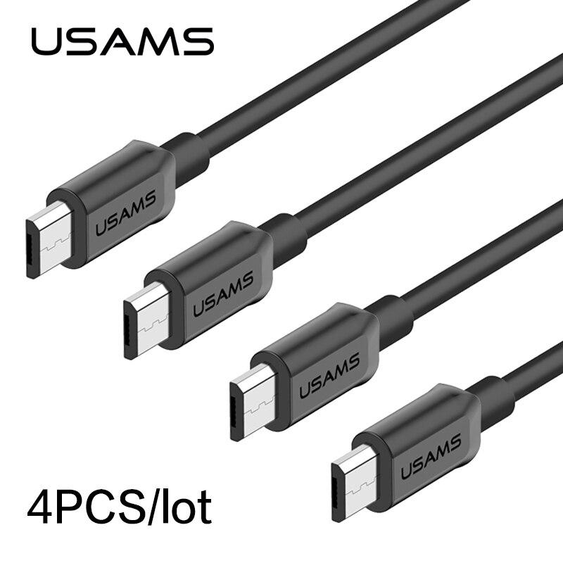 4 шт./лот кабели USAMS Micro USB быстрое зарядное устройство USB кабель для Samsung MicroUSB быстрая Синхронизация данных зарядный кабель для Android Xiaomi