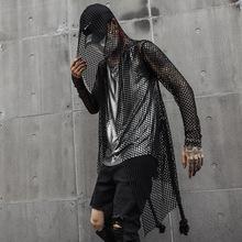 Mężczyźni kurtka ubrania letnie Slim Fit Casual Mesh Hollow pas trencz z kapturem sweter mężczyzna Streetwear Hip Hop Punk Gothic płaszcz tanie tanio Wykop Poliester Pełna Długi Skręcić w dół kołnierz Stałe Otwórz stitch Cienkie Regulowany pas NONE Szczupła CT225