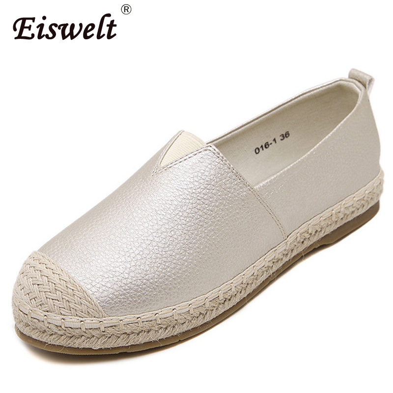 EISWELT 2017 New Women Loafers Weave Straw Flats Casual Fisherman Shoes Woman Slip On Shallow Comfort Flats Women Shoes#ZQS149 2017 summer new fashion sexy lace ladies flats shoes womens pointed toe shallow flats shoes black slip on casual loafers t033109