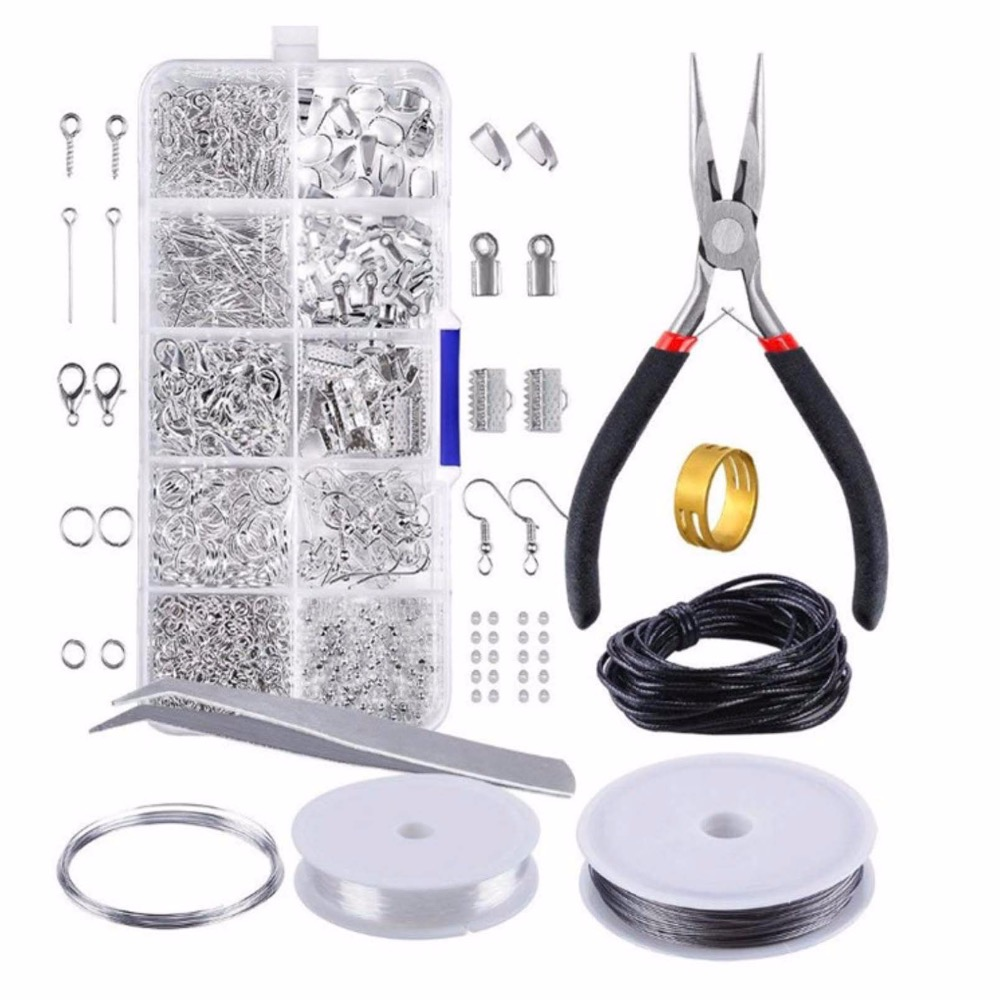 REGELIN Rhodium/Gold Color DIY Handmade Kit 1 SET JEWELRY MAKING KIT, FINDINGS/PLIERS/Jump Rings Fit Jewelry Accessories For DIY