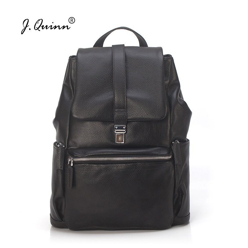J.Quinn Genuine Leather Backpacks Women Daypack Soft Pack Shoulder Bag Girl Travel Notebook Laptop Bags Retro Teenagers Female 2016 fashion women backpacks rivet soft sheepskin leather bags shoulder for teenage girls female travel bag free gift