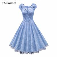Le donne Plus Size stampato dot Dress con Garza xl xxl 3xl 4xl blu vintage Pieghettato Estate 60 s 50 s Rockabilly Abiti vestido