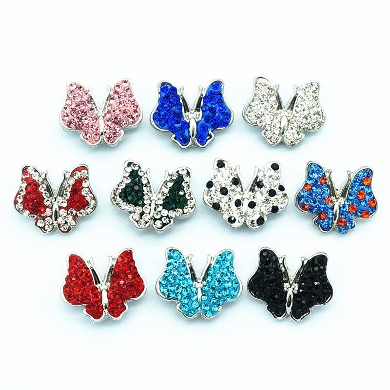 Beauty RhinestoneClay Manual Butterfly 18MM Snap Buttons Fit Snap Bracelet Snap Jewelry KZ2125