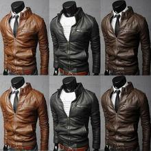 Новое поступление Осенняя мужская кожаная куртка размера плюс 3XL Черная коричневая мужская куртка со стоячим воротником кожаная байкерская куртка Пальто Верхняя одежда