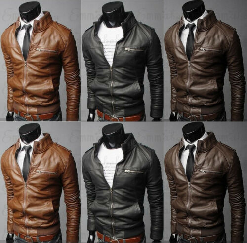 2019 New Arrival Autumn Male Leather Jacket Plus Size 3XL Black Brown Men Stand Collar Coats Leather Biker Jacket Coat Outwear