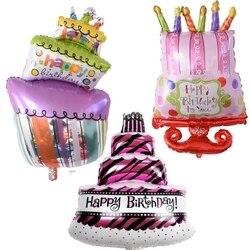 bd03b18d251bc Caliente 1 unid torta del feliz cumpleaños foil globos niños cumpleaños  decoración globos Feliz cumpleaños partido decoración suministros
