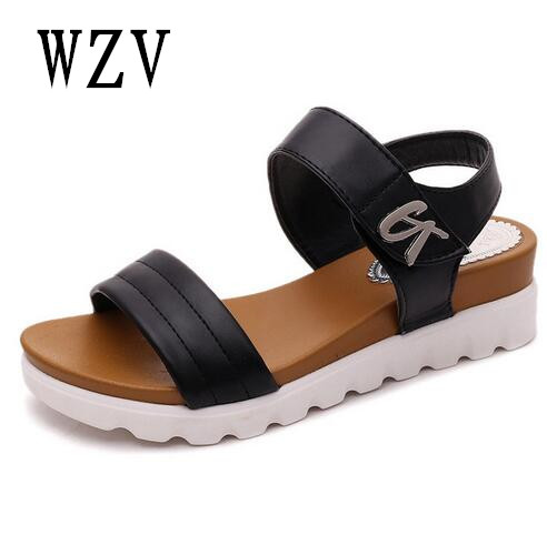 Weweya 2017 Summer Gladiator Sandals Women Aged Leather Flat Fashion Women Shoes Casual Occasions Comfortable The Female Sand fashion summer gladiator women flat fashion shoes casual occasions comfortable sandals round toe casual peep toe flat shoes s