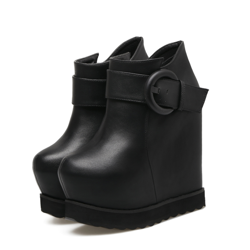 цена на 15cm High Heels Boots Autumn Ladies Black Wedges Platform Boots Fashion Women Ankle Boots Height Increasing Wedges Shoes