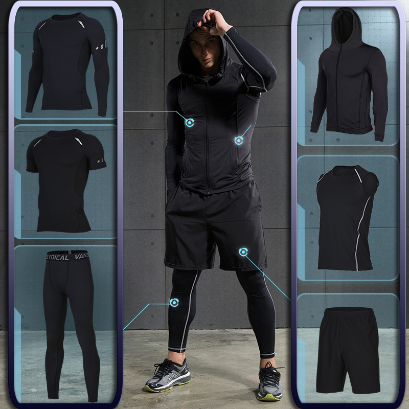 bf65db9ec63 US $22.08 17% OFF|Men's Gym training Fitness sportswear Athletic physical  workout Clothes Suits Running jogging Sports clothing Tracksuit Dry Fit-in  ...