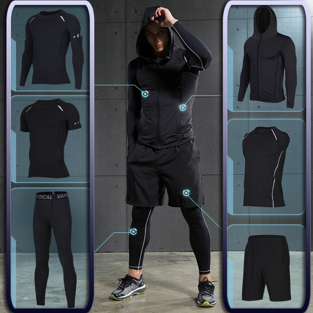Men s Gym training Fitness sportswear Athletic physical workout Clothes  Suits Running jogging Sports clothing Tracksuit Dry d1603769113fe