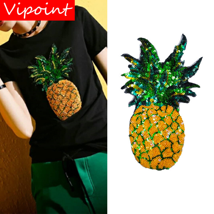 VIPOINT embroidery Sequins big pineapple patches fruits badges applique for clothing ZM-54