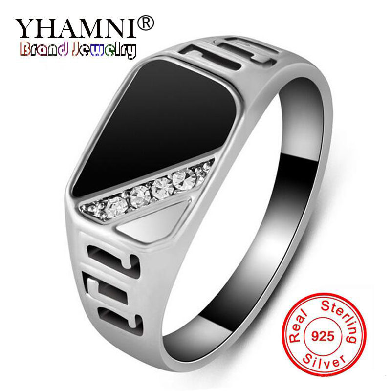YHAMNI Original Classic Gold Color Rings For Men Antique Natural Black Stone CZ Engagement Ring Men Jewelry Accessories YR0379