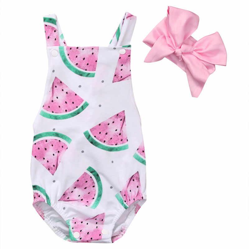 771f0bf79915 Newborn Baby Girls Watermelon Romper Sleeveless Summer Jumpsuit Fashion  Backless Bandage Outfits Heandband Clothes Set