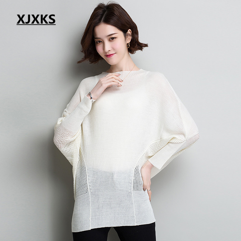 XJXKS Trend bat sleeve hole ladies's summer season solar safety clothes 2019 spring new free plus dimension linen knit skinny sweater Blouses & Shirts, Low-cost Blouses & Shirts, XJXKS...