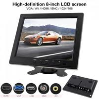 8 Inch HD LED TFT LCD Car Monitor Mini TV Computer 2 Channel Video Input Security Monitor with Speaker HDMI VGA for Car