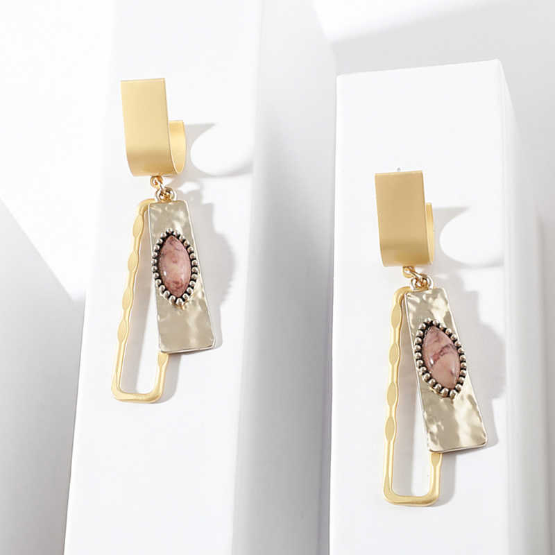 Fashion Charm Resin Eye Dangle Earrings Punk Gold Alloy Square Hollow Pendant Statement Earrings for Women Wedding Jewelry 2019
