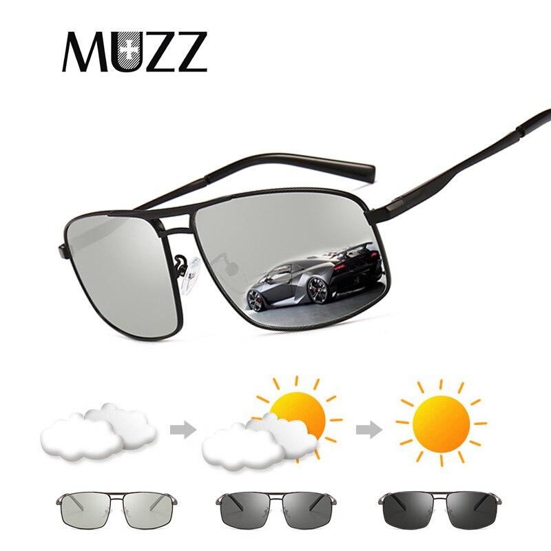 Muzz 2018 nuevo marco de metal gafas de sol polarizadas hombres camaleón  decoloración conducción espejo gafas hombre oculos de sol 1acc62b40f