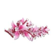 Девушка хвощ цветущий цветок горный хрусталь шпильки роскошные австрия кристалл зажим для волос женские вс-спички пружинный зажим аксессуар