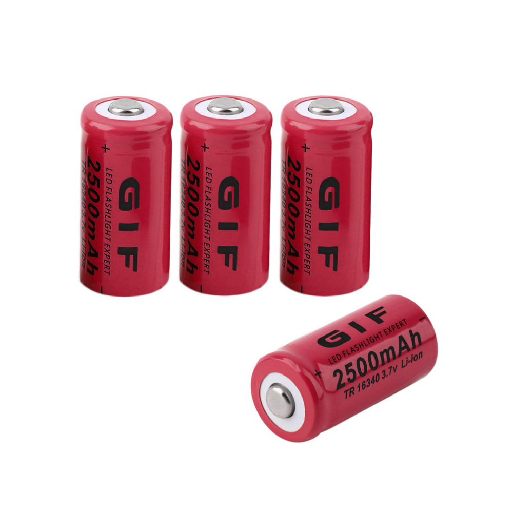4 pcs Red Yellow AA 3.7V 16340 2500mAh Low Reoccurring Operation Cist Rechargeable Li-ion LED Battery Safe For Flashlight