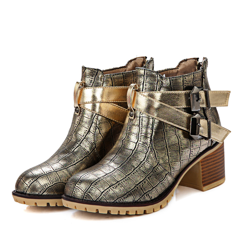 American street style autumn round toe ankle boots belt buckle decoration med withblack white red golden