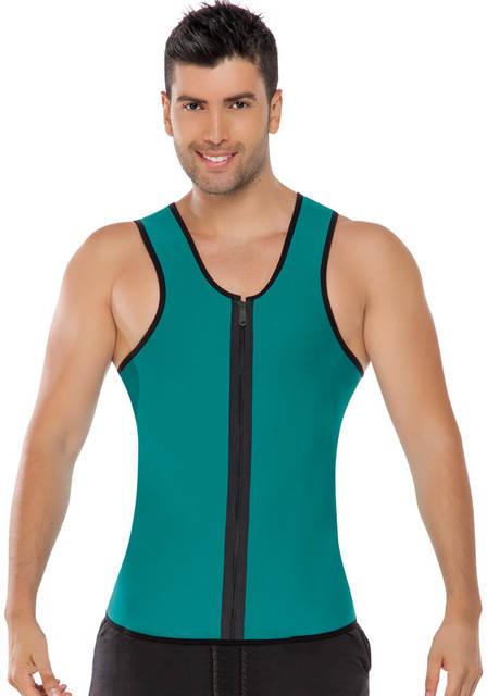 0209fcd0bd3 Men Waist Training Corsets Neoprene Body Shaper Zip Up Ultra Sweat Double  Face Fitness Sport Bodysuit