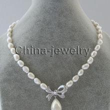 """1"""" 11 мм естественный белый барокко пресноводный жемчуг ожерелье+ 16 мм белый жемчуг в виде ракушки"""