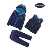 Winter Children S Clothing Set 3PCS Duck Down Jackets Pants Vest Warm Winter Clothes For Boy