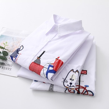 2019 NEW White Shirt Casual Wear Button Up Turn Down Collar Long Sleeve Cotton Blouse Embroidery Feminina HOT Sale T8D427M 1