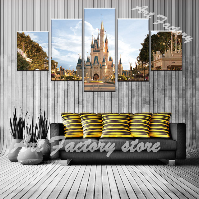 newest 5 panels canvas art cinderella castle home decoration wall painting prints pictures for living room
