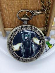 Новые горячие продажи бронзовые серебряные большие размеры кошмар карманные часы ожерелье пентант брелок цепь мужской подарок