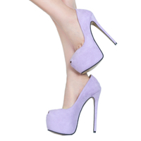 Woman Wedding Shoes Brand Thin High Heels Classic Heeled Sandals 14CM Ladies Purple Platform Pumps