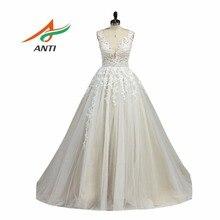 ANTI Romantic Ball Gown Wedding Dress trouwjurk Sleeveless Vestido De Noiva Appliques Crystal Robe De Mariee Bridal Gowns