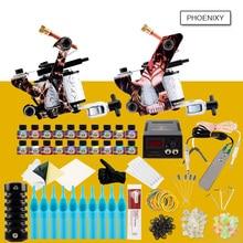 Professional Tattoo Kit 2 Tattoo Machines Gun Set 20 Colors Ink Sets LCD Power Supply Needles Grips Permanent Make Up Tattoo Set